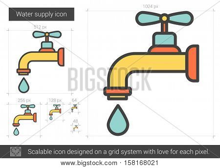 Water supply vector line icon isolated on white background. Water supply line icon for infographic, website or app. Scalable icon designed on a grid system.