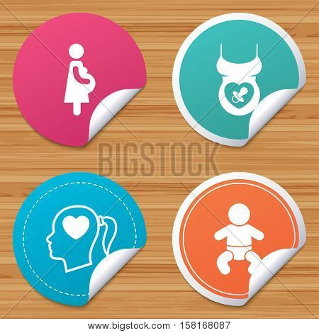 Round stickers or website banners. Maternity icons. Baby infant, pregnancy and dummy signs. Child pacifier symbols. Head with heart. Circle badges with bended corner. Vector