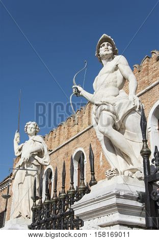 Venetian Arsenal mythological statues of Mars and Justice made at the end of 17th century