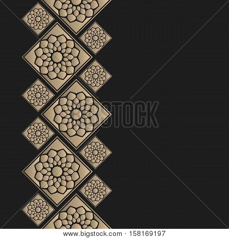 Vector geometric frame oriental style. Seamless vector border for design. Islamic oriental card with place for text.
