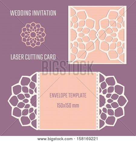 DIY laser cut vector envelope. Wedding die cut invitation template. Cutout silhouette card. Fretwork envelope. Paper cutting. Scrapbook cutout template.