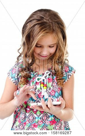 Cute little girl with tablet pc isolated on a white education and internet concept