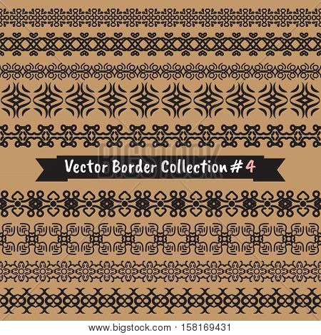Abstract vector ethnic and tribal elements border collection