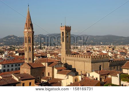 View of Florence historic city center with medieval tower and belfry