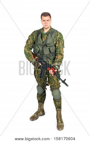 Military serviceman with rifle. Isolated on white background