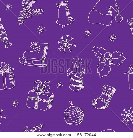 Seamless Christmas pattern on a purple background