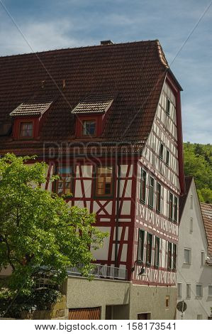 MOENSHEIM, PFORZHEIM, GERMANY - April 29. 2015: Monsheim is a town or village in the district of Enz in Baden-Wuerttemberg in southern Germany.