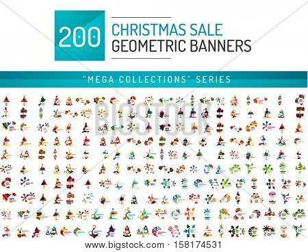 Mega collection of Christmas sale banner templates. Holiday New Year elements - blank geometric shapes with text
