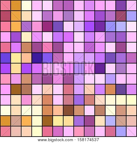 Warm pastel colorsl mosaic square tiles illustration abstract background