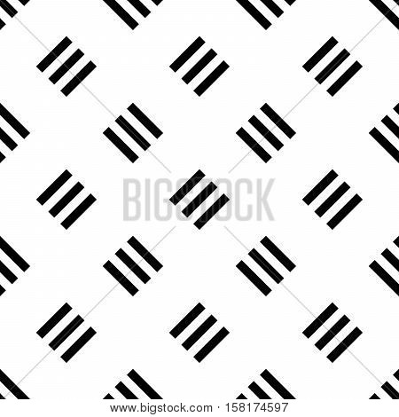 Seamless pattern background of triple lines in diagonal arrangement. Retro style tiled wallpaper in balck and white.