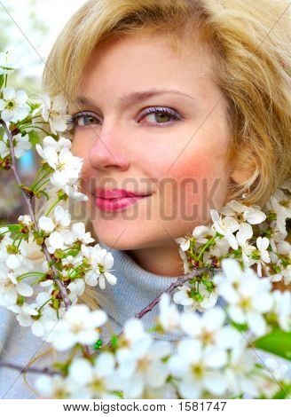 Beautiful Girl With Cherry Flowers In Bloom