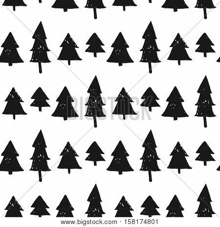Seamless Christmas background with cute christmas trees in black and white colors.Scandinavian style pattern.Merry Christmas and Happy New Year concept.Design for journaling and wrapping paper.