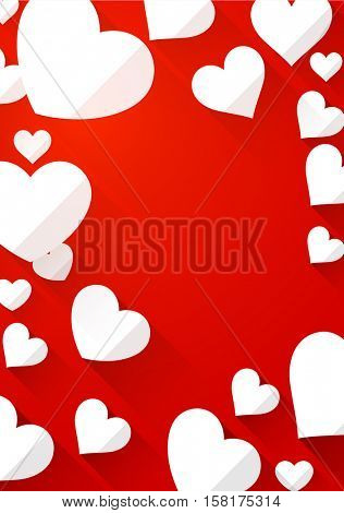 Valentine's red background with white hearts. Vector paper illustration.
