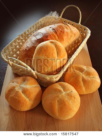 Crispy bread rolls, in a basket,