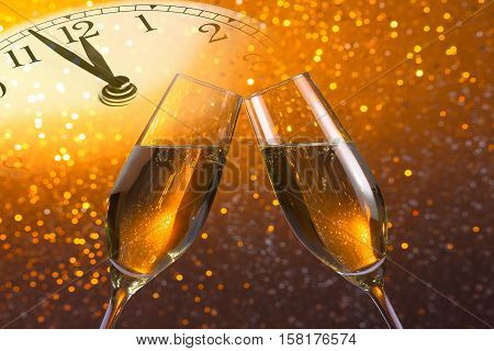Champagne Flutes With Golden Bubbles On Golden Light Bokeh Background