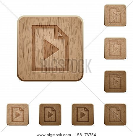 Playlist icons in carved wooden button styles