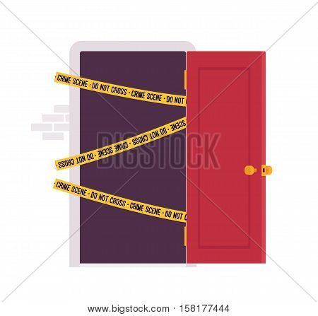 Front open door with yellow police line Do Not Cross tape. Cartoon vector flat-style concept illustration
