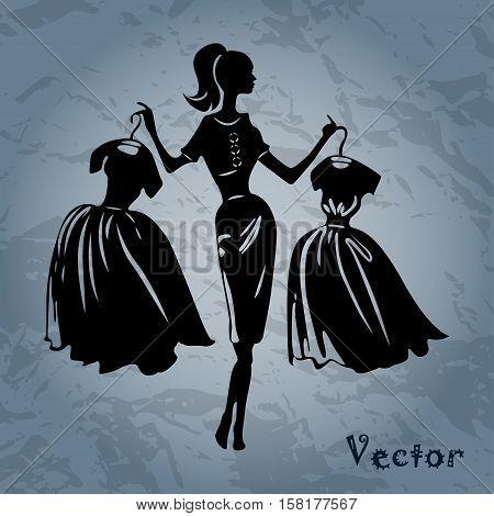 Vector silhouette of women on background, illustration