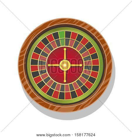 Casino roulette wheel isolated flat gambling illustration or icon