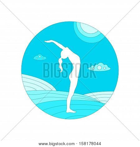 Vector yoga concept illustration. Young woman in yoga pose. Yoga silhouette on a natural flat background. Yoga poster or yoga card in trendy style. Yoga day design