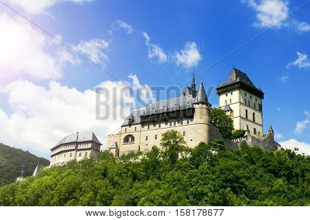Karlstejn Castle, large Gothic castle founded 1348 CE by Charles IV, Holy Roman Emperor-elect and King of Bohemia. Czech Republic, Europe.