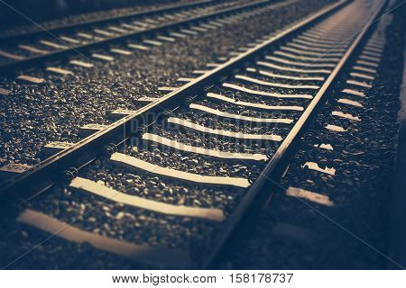 The railway tracks in blueness hipster colors