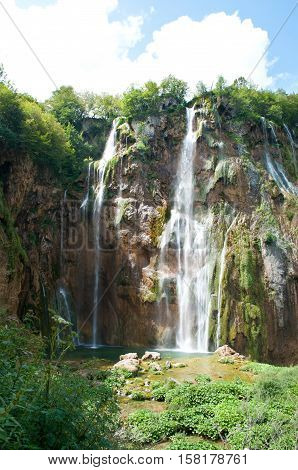 Veliki slap waterfall in summer. Plitvice lakes national park Croatia