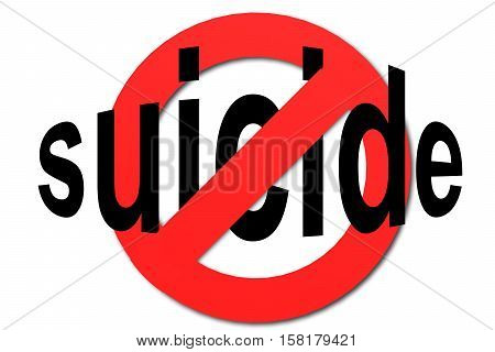 Stop Suicide Sign In Red