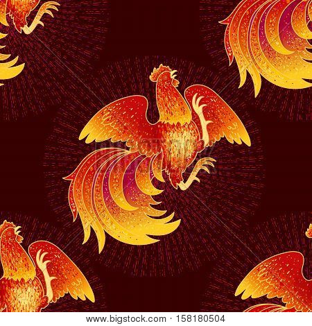 2017, the Year of the Fire Rooster in Chinese Horoscope. Red and gold colors, symbol of new year. Fire element. Hand drawn sketchy cartoon tileable background, vector seamless pattern
