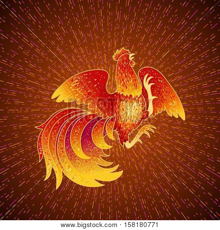 2017, the Year of the Fire Rooster in Chinese Horoscope. Red and gold colors, symbol of new year. Fire element. Hand drawn sketchy cartoon clip-art, vector illustration