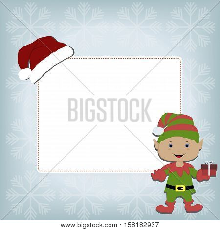 cute baby holiday Christmas square frame on a blue background with snowflakes. With stickers elf and Santa hat. Template for greeting card or a poster. Christmas vector illustration. Baby shower
