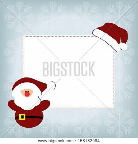 cute baby holiday Christmas square frame on a blue background with snowflakes. With stickers Santa gnome and a Santa hat. Template for greeting card or a poster. Christmas vector illustration. Baby shower