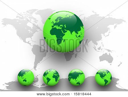 Green world - five detailed earth globe with world map, vector illustration poster
