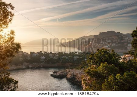 Aerial view of Village of Port Andratx and villas of Cap de sa Mola at sunset Mallorca Baleares Spain