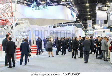 St. Petersburg, Russia - 5 October, Large crowd of people on the Gas Forum, 5 October, 2016. Petersburg Gas Forum which takes place in Expoforum.