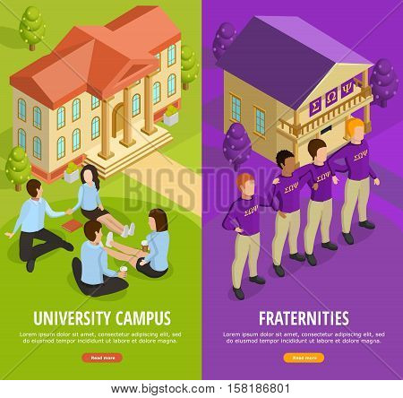 University education 2 vertical isometric colorful background banners with student campus life and fraternities isolated vector illustration