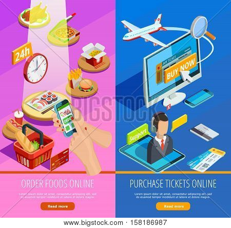 Travel tickets booking and grocery food products online order 2 colorful vertical isometric banners isolated vector illustration