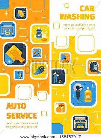 Auto Service with car wash center 2 flat vertical banners advertisement cleaning products symbols isolated vector illustration