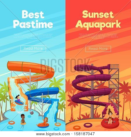 Aquapark vertical banners with water pipes pool and children in the day and sunset time vector illustration
