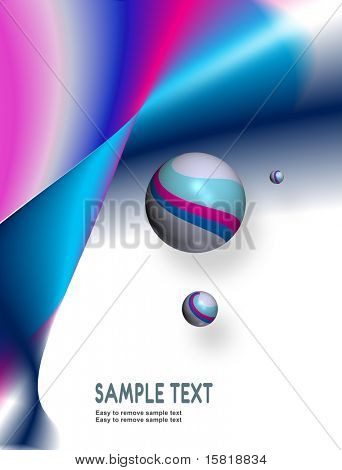 Abstract background, blue pink and white with 3d glossy spheres