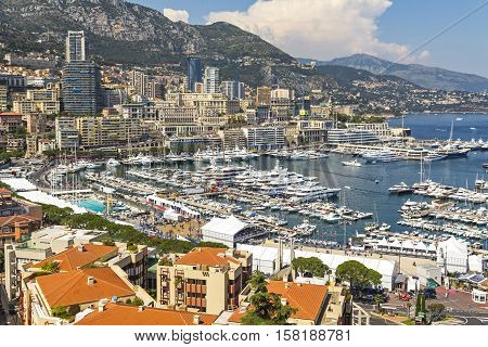 Luxury Yachts And Apartments In Harbor Of Monte Carlo, Monaco