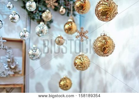Bright Christmas decoration at warehouse. Christmas retail and wholesale concept.