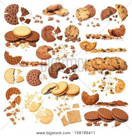 Set of delicious cookies on white background