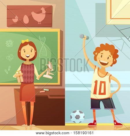 Middle school vertical retro cartoon banners with biology lesson and physical education gym training isolated vector illustration