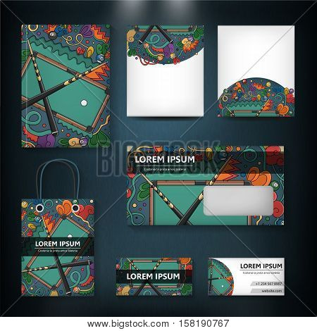 Vector hand drawn doodle template of billiard, pool and snooker for cover design, business card, envelope, letterhead, brochure and book. Realistic corporate identity brand mock up.