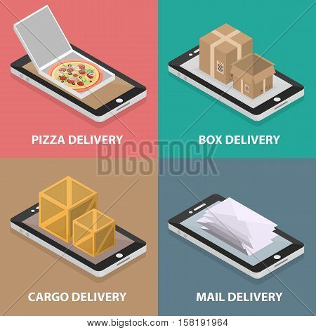 Vector isometric square banners of pizza, box, cargo and mail delivery. Business concept of logistics, online marketing and transportation.