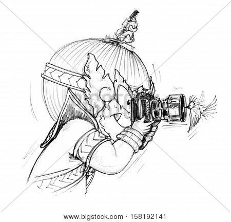 Thai Giant cartoon is photographer he go to travel in forest have find pretty small bird to flying front of a camera very neary and take a lucky photo Character design pencil sketch black and white on white background.