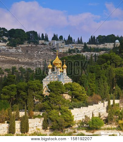 Mount of Olives in Jerusalem. Golden domes of the Church of St. Mary Magdalene