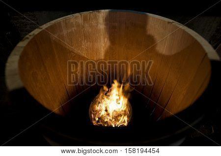 Toasting An Oak Barrel