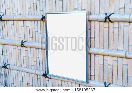 Empty frame On Bamboo Wood Fence